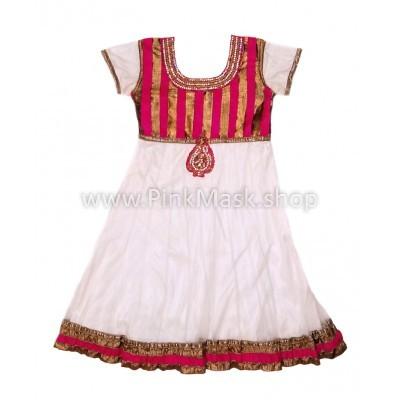 Платье белое в бронзовую полоску