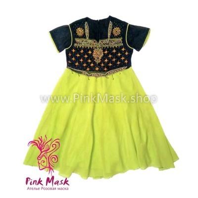 платье этнос салатово-чёрное 2