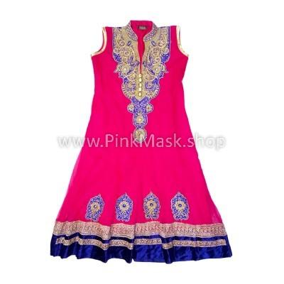 Платье розовое. Вышивка кобальт в золоте