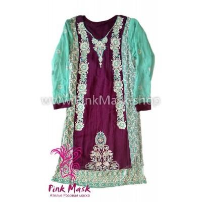 Платье этнос бордо-бирюза