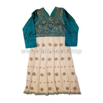 Платье этнос Бело-зелёное