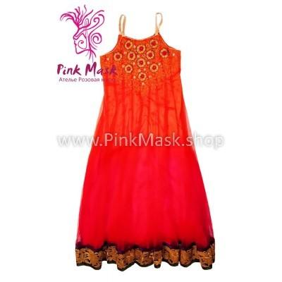 Русский сарафан. Платье оранжевое