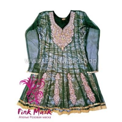 Платье Зелёное в камнях